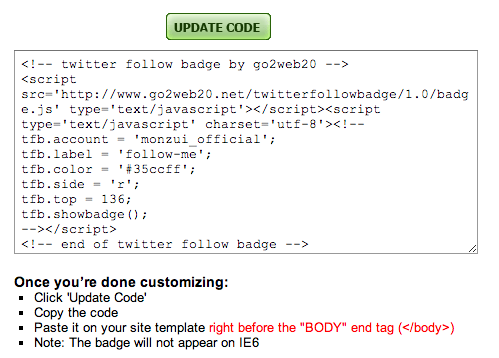 twitter follow badge code